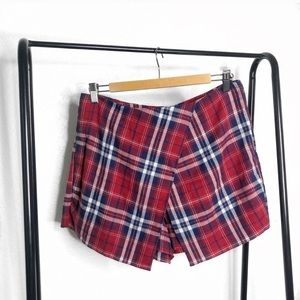 UO Cooperative Red Plaid Mini Asymmetric Skort
